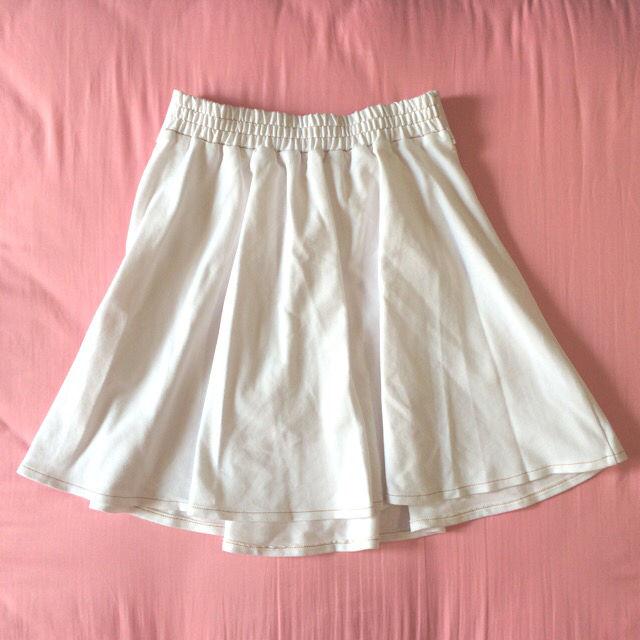 セシルマクビー リボン付きフレアスカート ホワイト送料込
