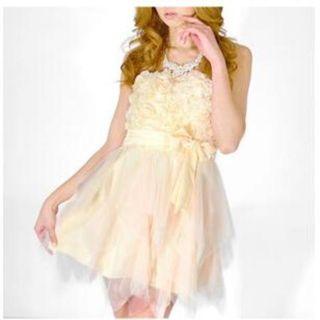 今期新作ドレス♪パール付立体ローズ♪チュールミニドレス