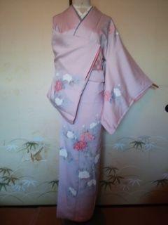 グレー*ピンク椿付下正絹袷162裄長チョー美品