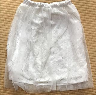 バイバイ花柄オーガンジースカートホワイト