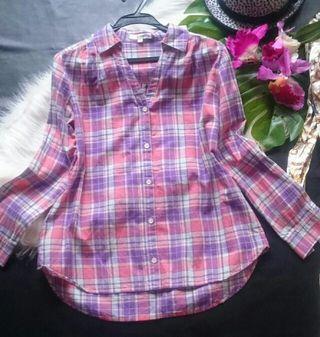 美品!anyFAM春色×チェックスキッパーシャツ