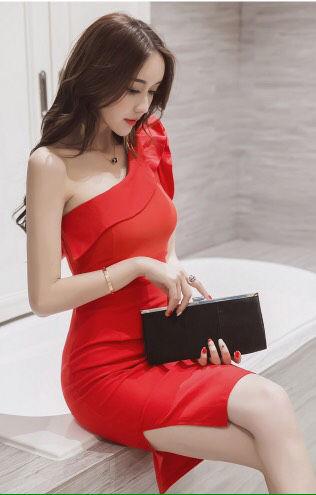 赤 ワンショルダー スリット フリル ワンピ ドレス