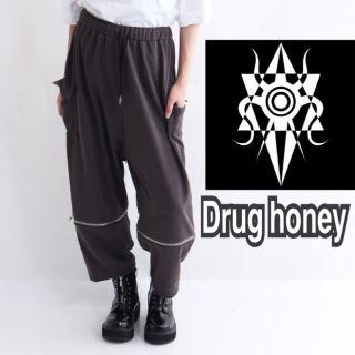 【新品/Drug honey】ジップ付スウェットワイドパンツ
