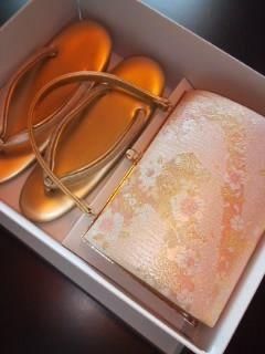 金ピンク*草履bagセット23.5㎝美品室内利用