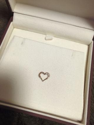 ハート チャーム K10  ピンクゴールド  ダイヤモンド