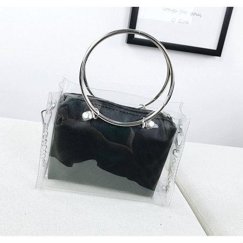 ブラック クリアバッグ ショルダー ミニバッグ コンパクト