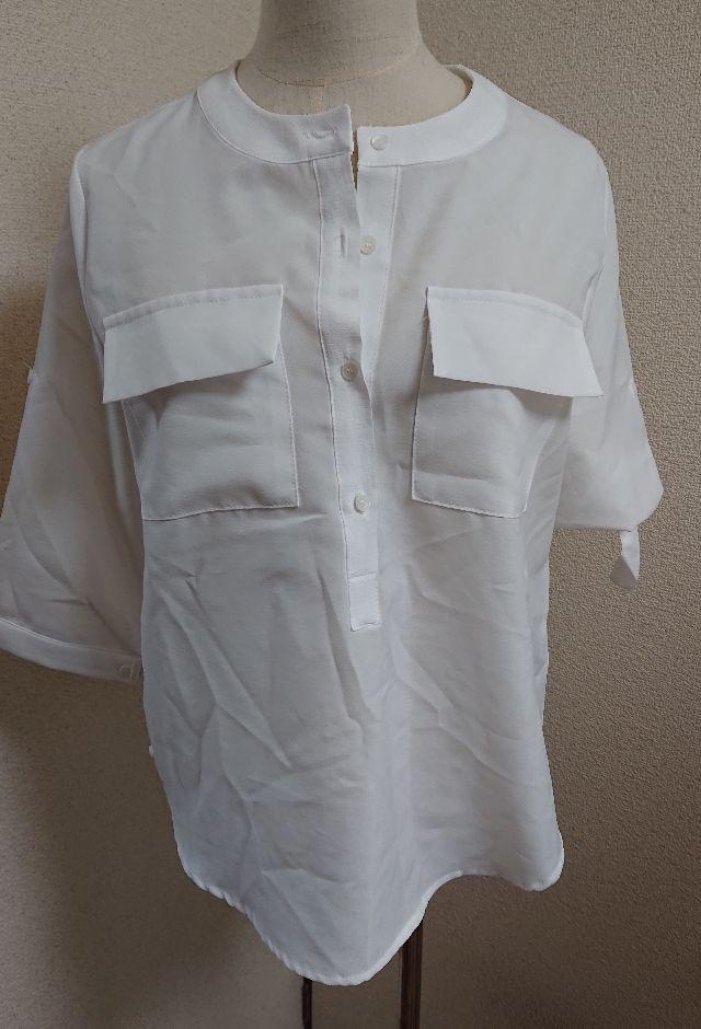 ホワイト七分丈キレイメシャツブラウス