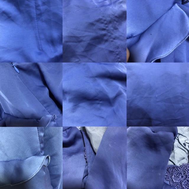 KUMIKYOKU鮮やかブルーフラワーレース膝下ドレス