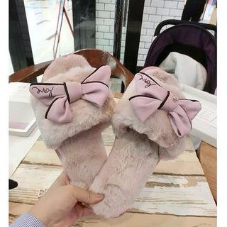 ファーサンダル ファー付き サンダル リボン付 靴 ピンク